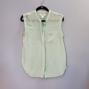 Joe Fresh Mint Green Button Down Tank Top
